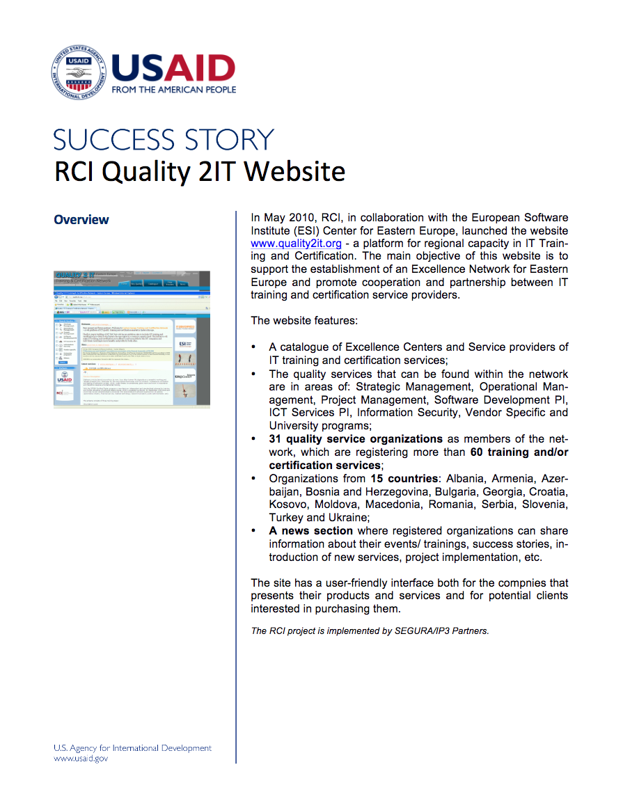 RCI Quality 2IT Website - click to view/download