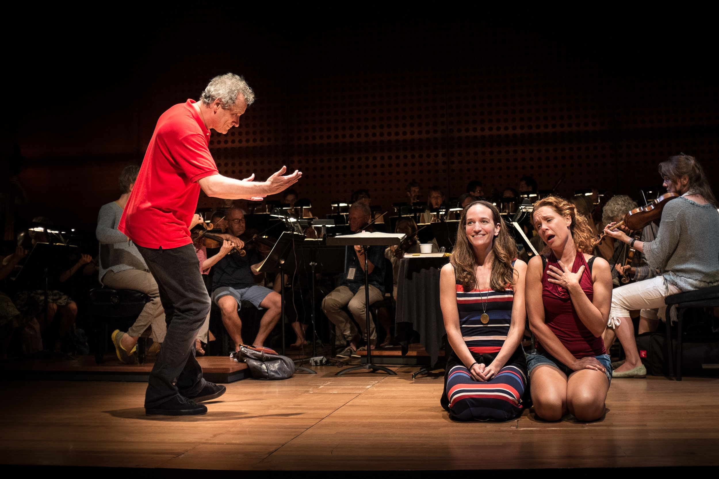 In rehearsal with Louis Langree and Lenneke Ruiten, Lincoln Centre / Mostly Mozart Festival, NYC, 2016