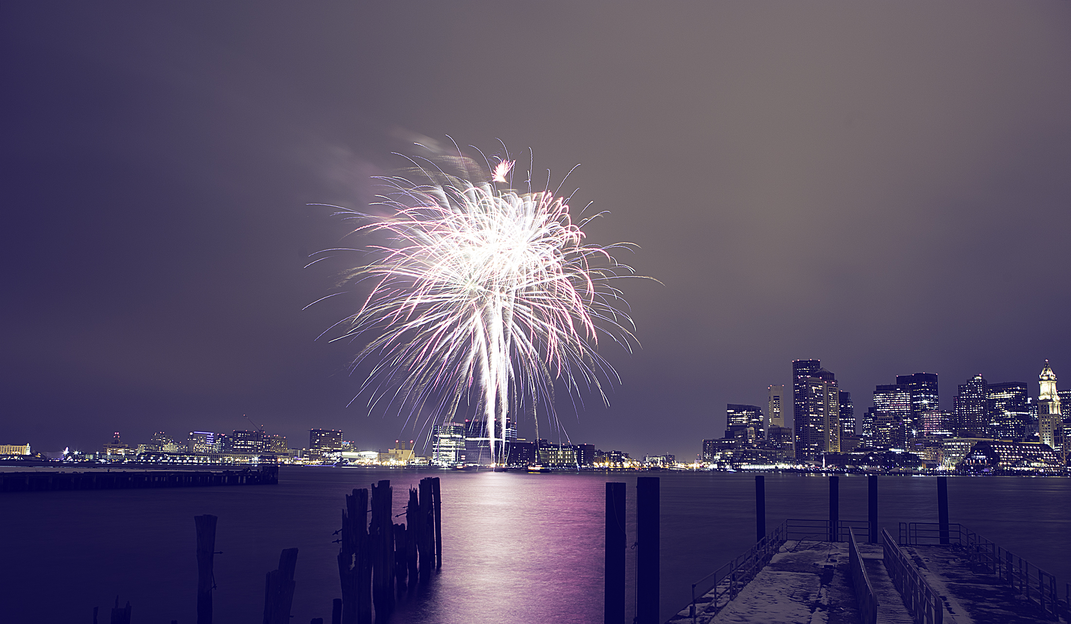 Boston Downtown from the Pier and Fireworks. Still astound.
