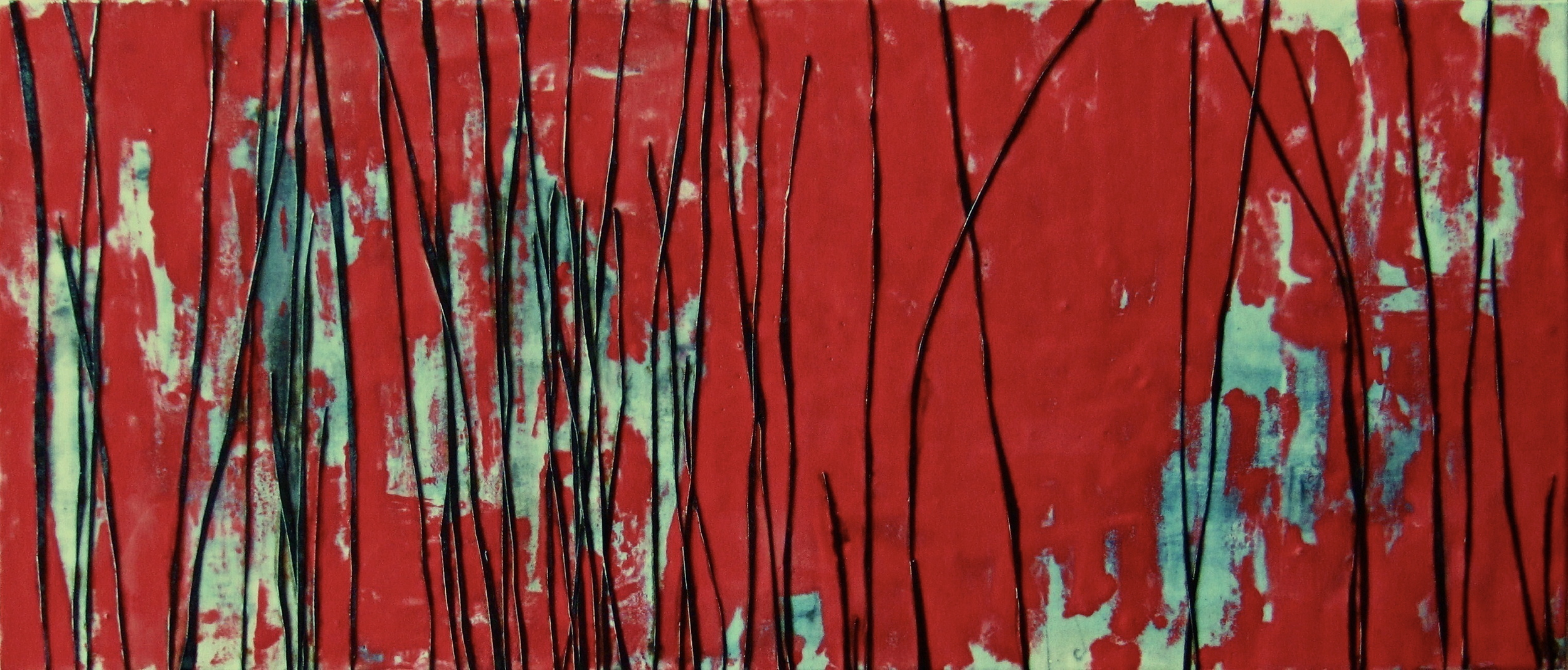 Liminal, 2008 / Encaustic on canvas on wood panel, 14 x 33 / Sold
