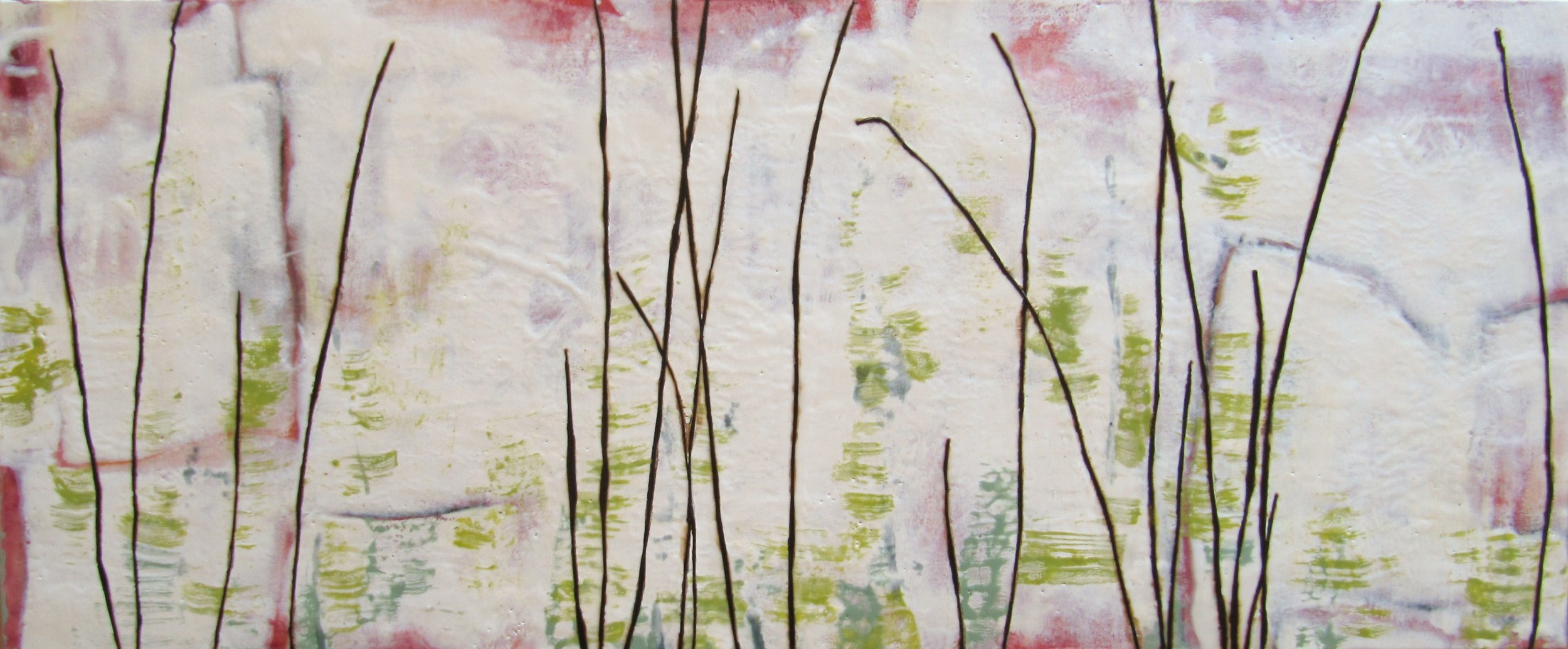 Surface, 2008 / Encaustic on canvas on wood panel, 20 x 48 / Sold