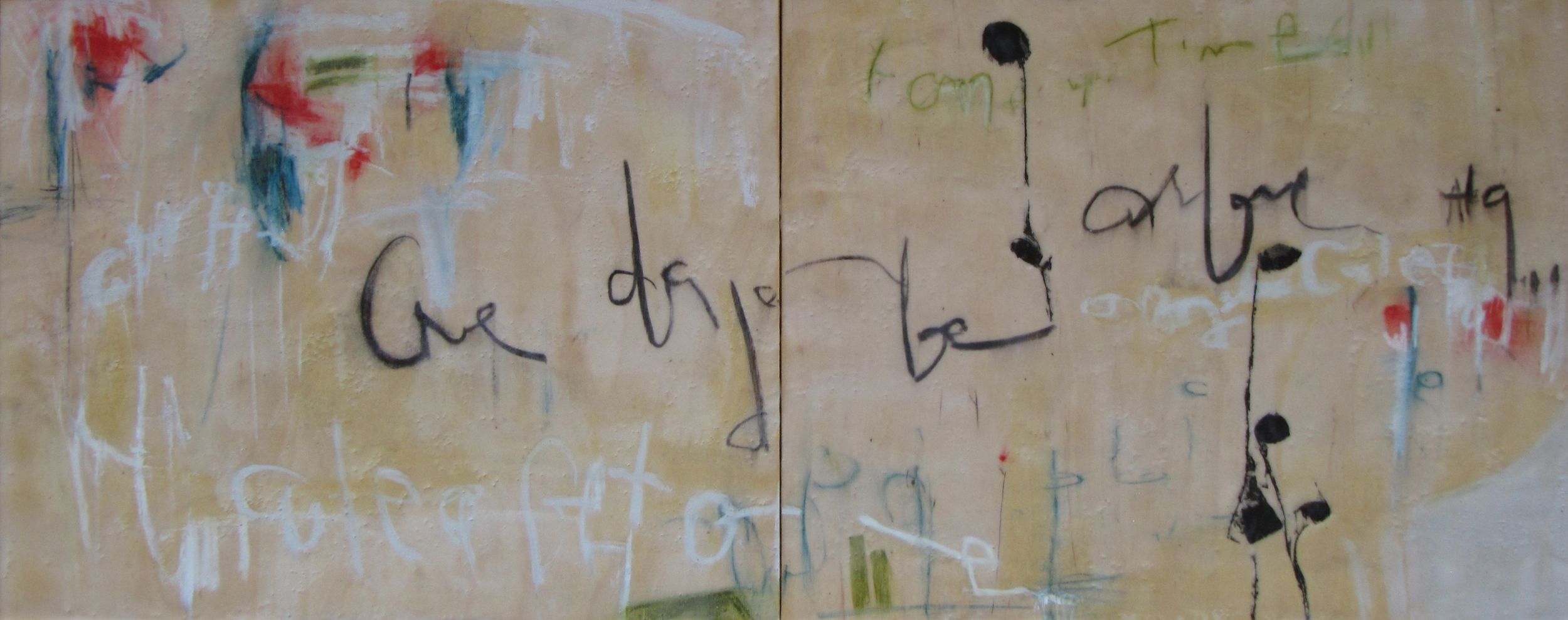 The Writing on the Wall,2011 / Encaustic on wood panel, diptych, 16 x 40