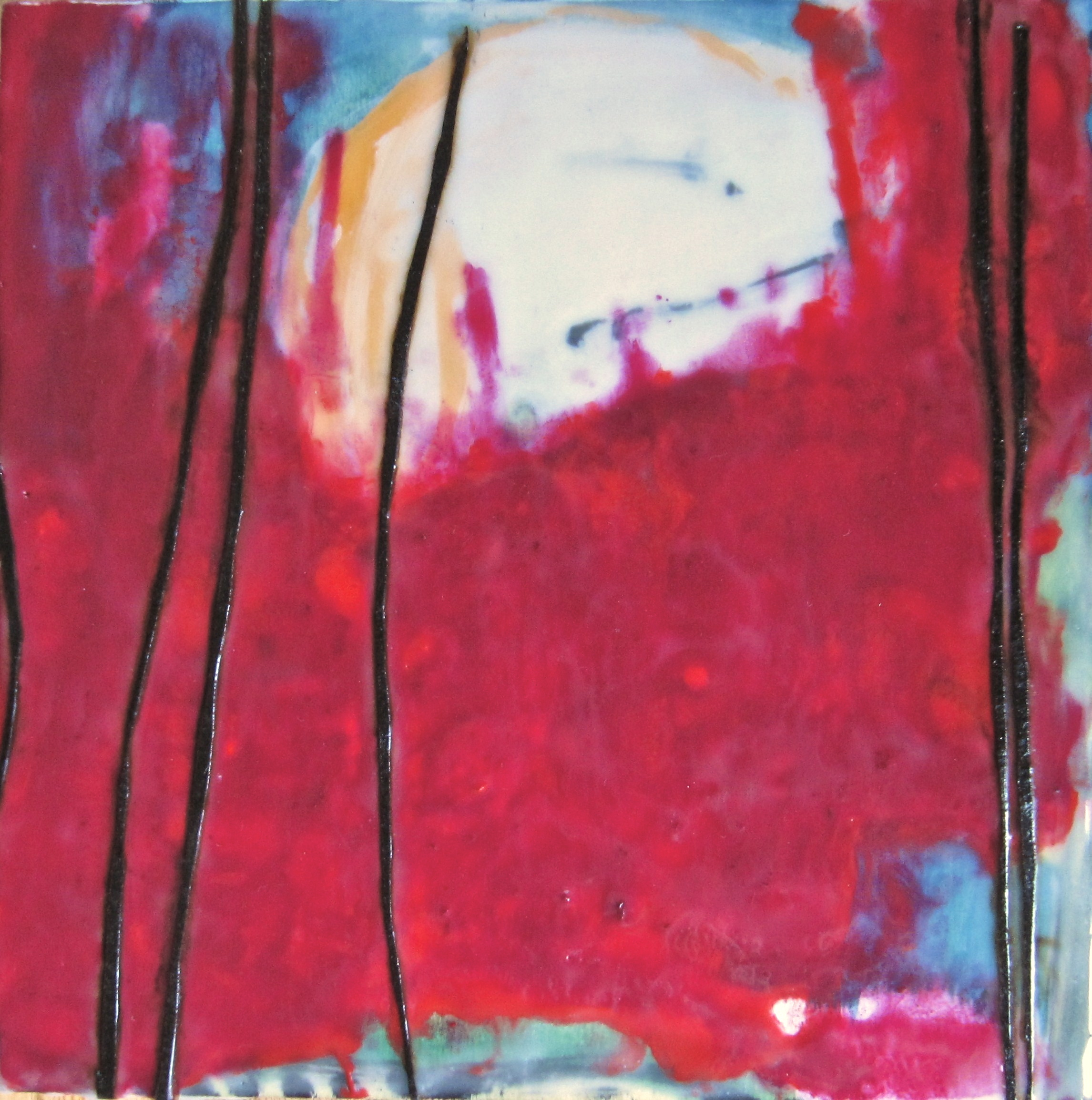 Blood + Water, 2009 / Encaustic on wood panel, 10 x 10 / Sold