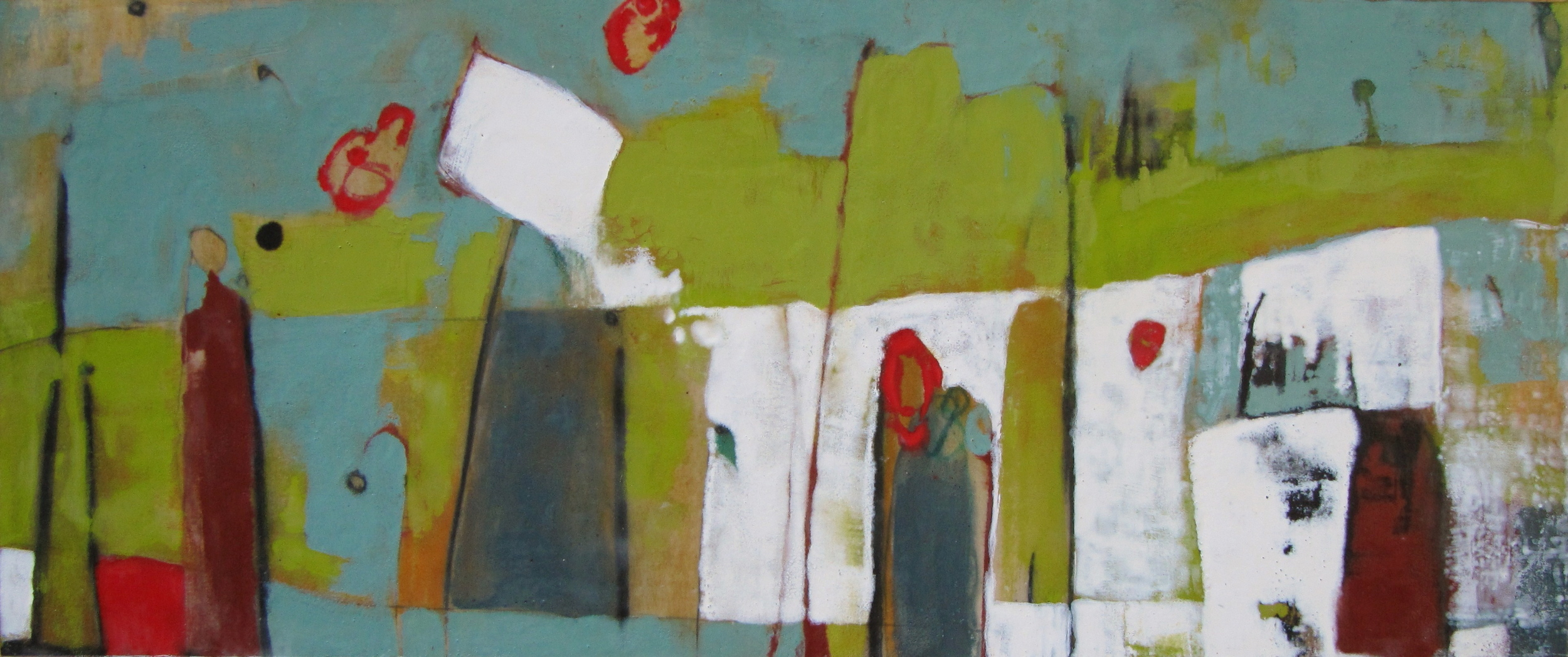 Spilling Mysteries, 2008 / Encaustic on canvas on wood panel, 20 x 48 / Sold