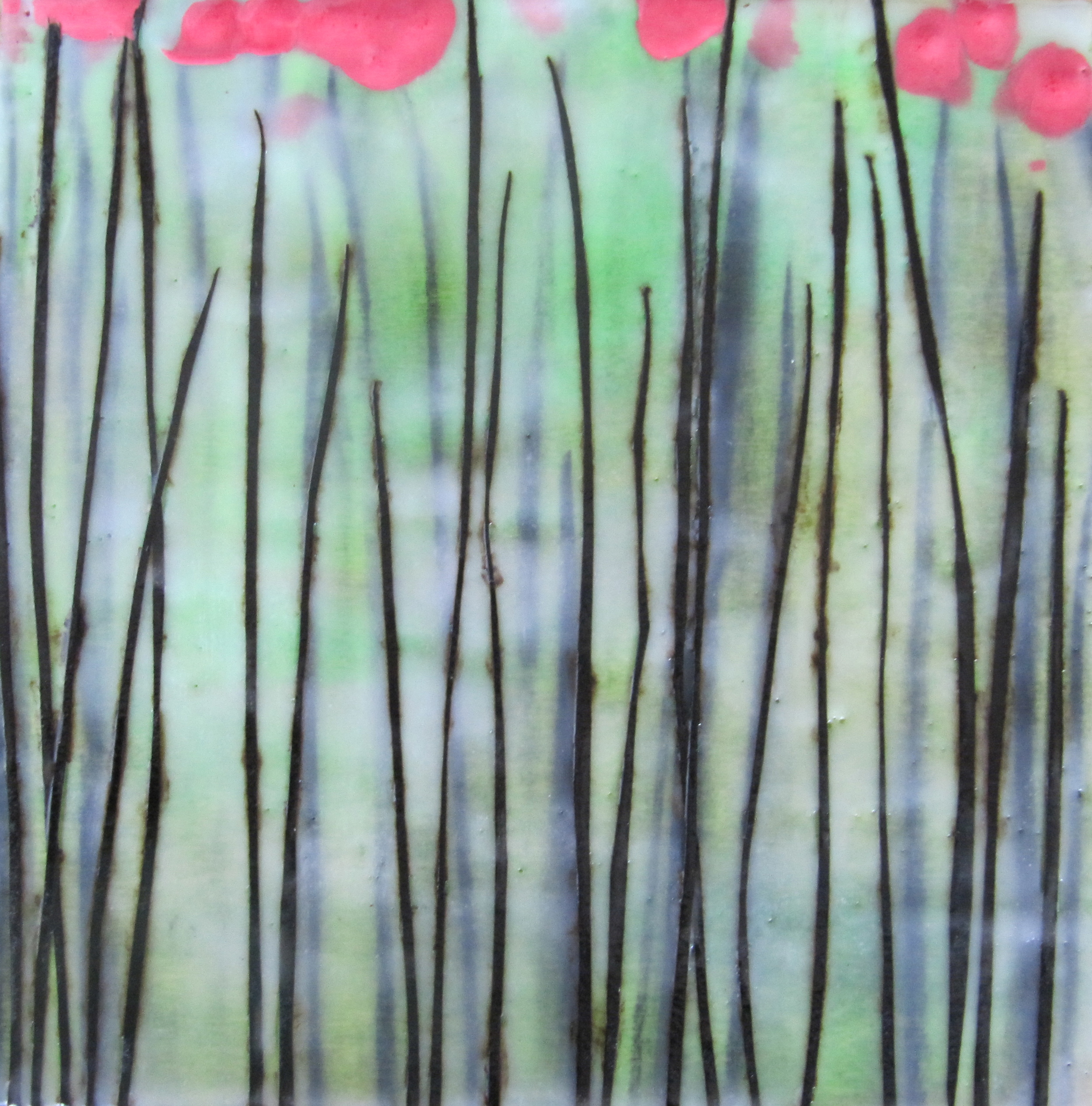 Flora, 2011 / Encaustic on wood panel, 10 x 10 / Sold