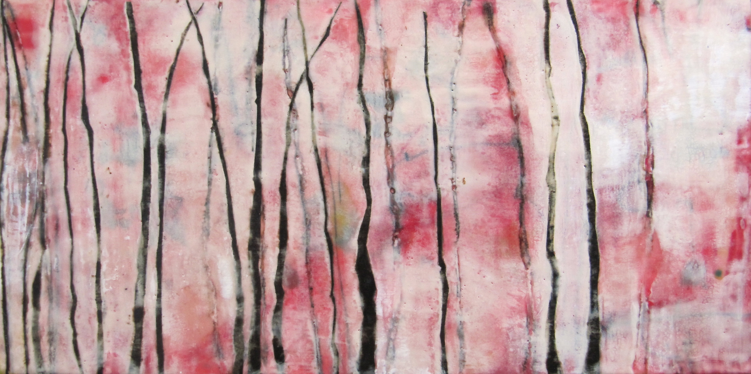 Parallel, 2009 / Encaustic on canvas on wood panel, 12 x 24 / Sold  AUCTION May 2013