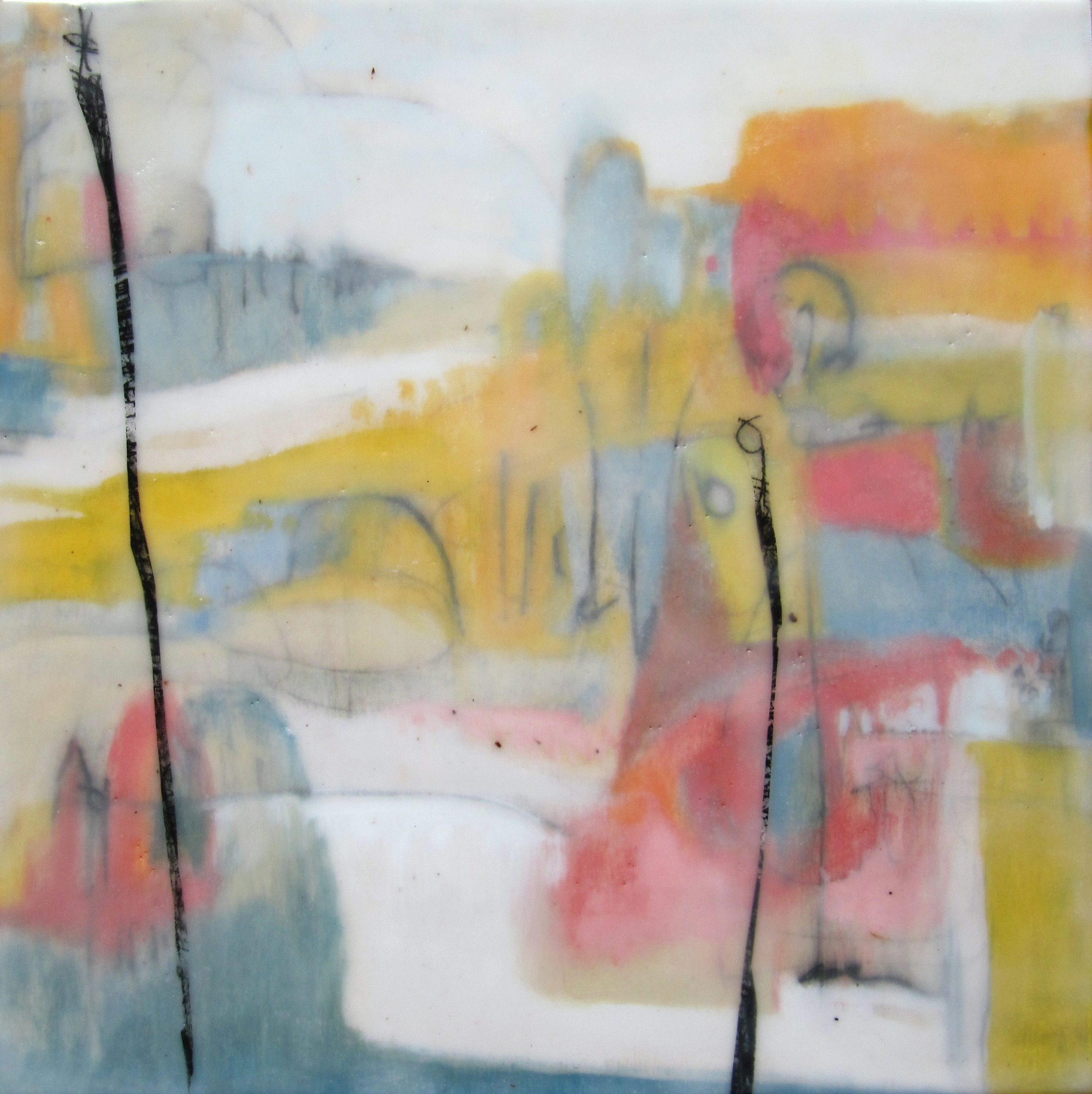 Dreamscape I, 2009 / Encaustic on wood panel, 12 x 12 / Sold