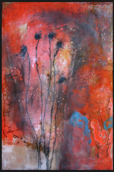 Cadmium, 2007 / Encaustic on wood panel, framed, 12 x 15 / Sold