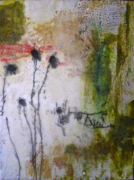 Hendry, 2008 / Encaustic on wood panel, framed, 12 x 15 / Sold