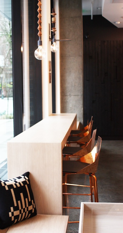 Cafe bar seating with copper chairs
