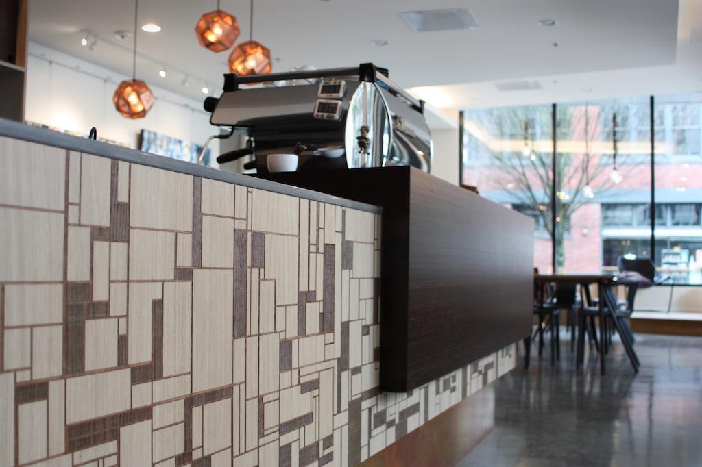 Custom modern lazer cut cafe counter