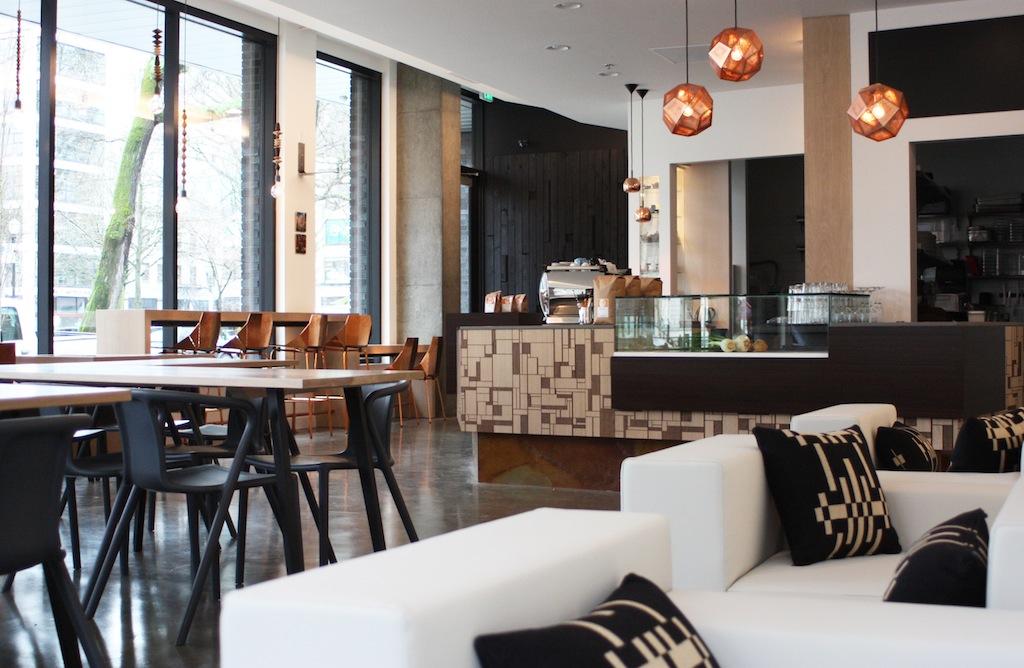Warm modern Portland cafe