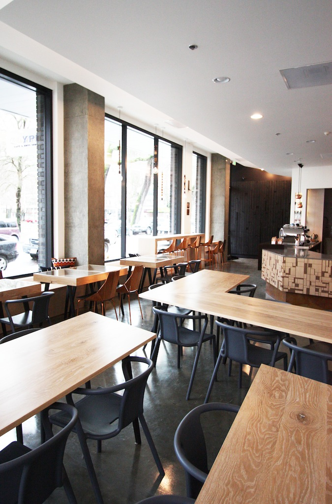 modern geometric cafe seating