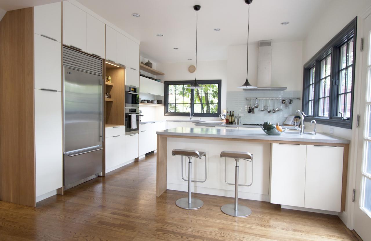Wood and White Kitchen white spacey windows flooring