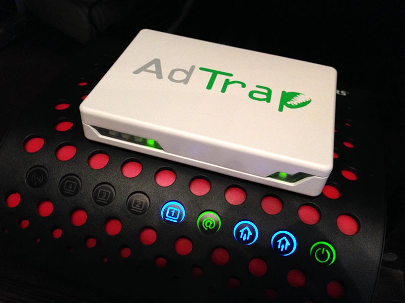 The AdTrap, briefly online atop my Rogers-supplied HitronTechnologies modem/router—one of the worst pieces of hardware I have ever used.