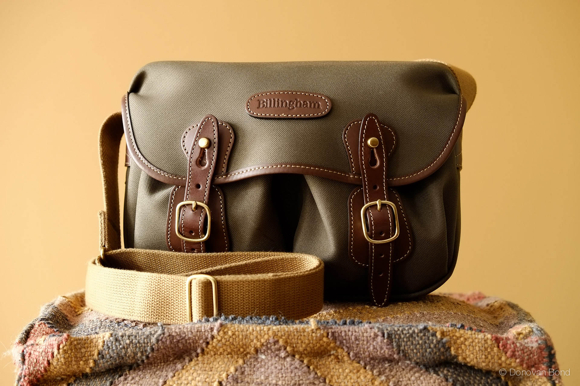 The Billingham Hadley Small in Sage FibreNyte, Chocolate leather, and brass fittings.