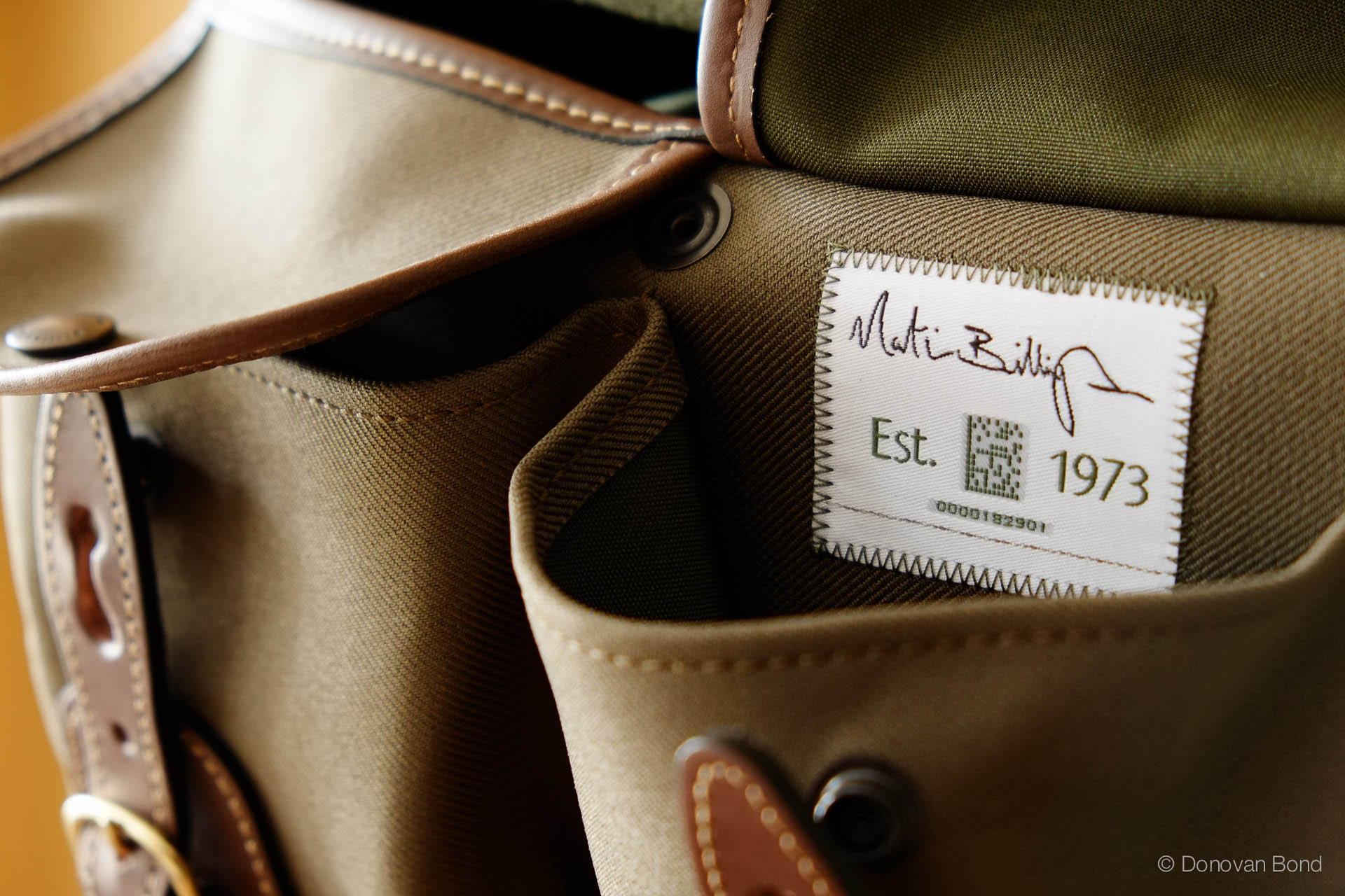 The Billingham seal of approval, and serial number. What other camera bag comes with a serial number? Billingham know their target.
