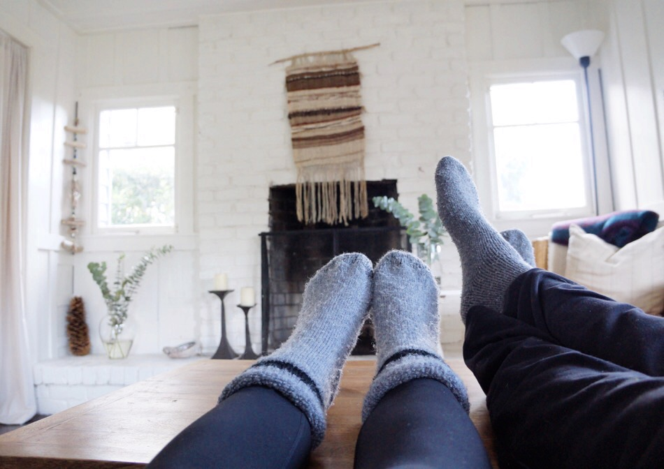 simple pleasure of cozy socks on a cold morning