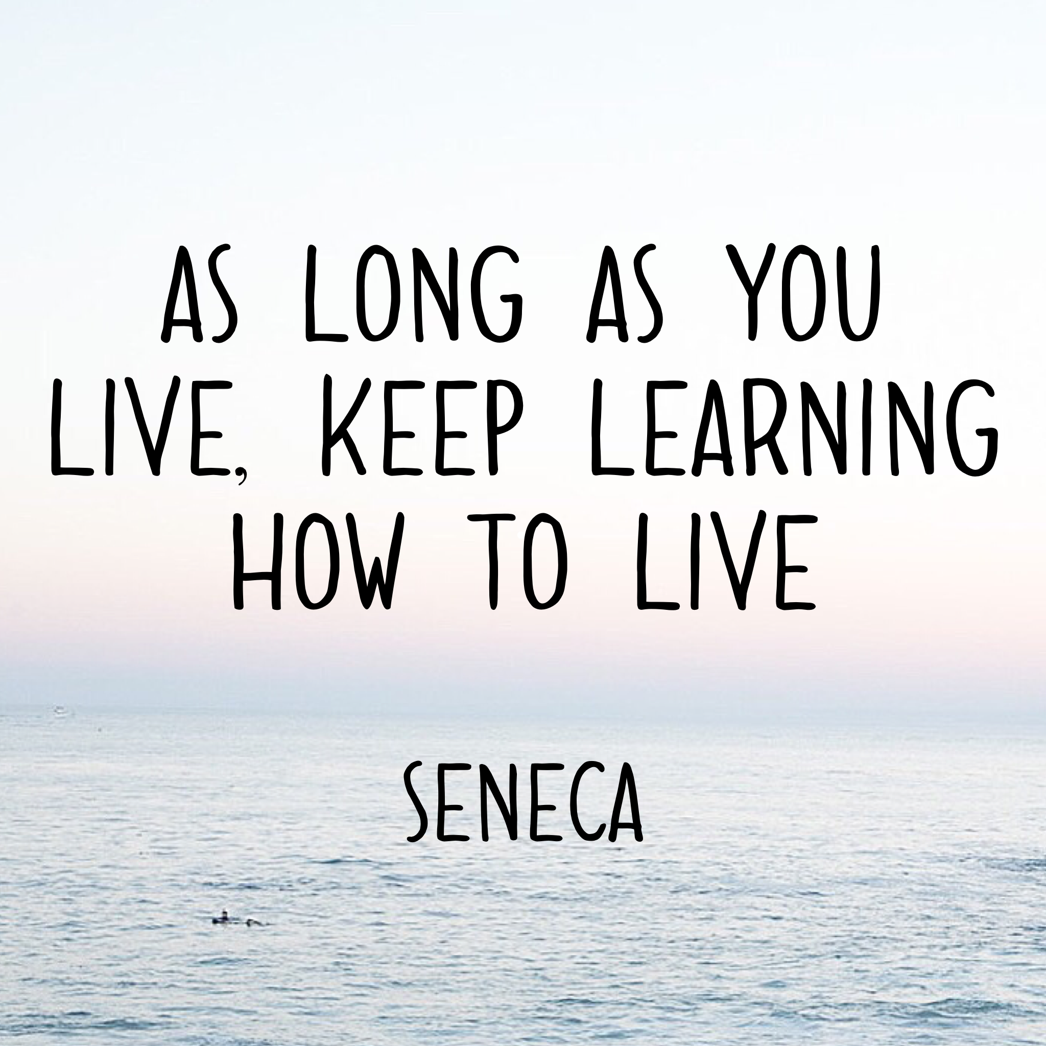 As long as you live, keep learning how to live -Seneca