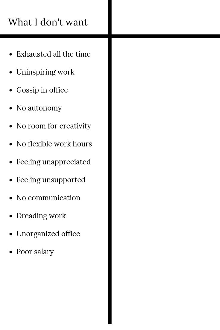 CONTRAST LIST FOR IDEAL JOB