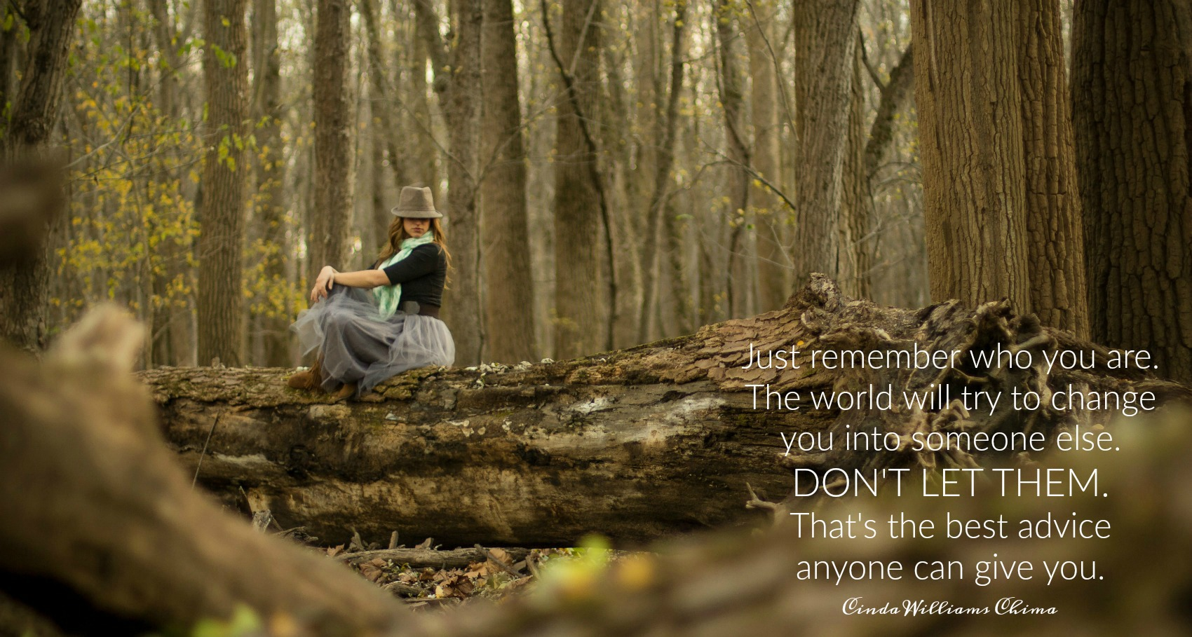 Just remember who you are. The world will try to change you into someone else. Don't let them. That's the best advice anyone can give you. Cinda Williams Chima. Circle of Daydreams. www.circleofdaydreams.com