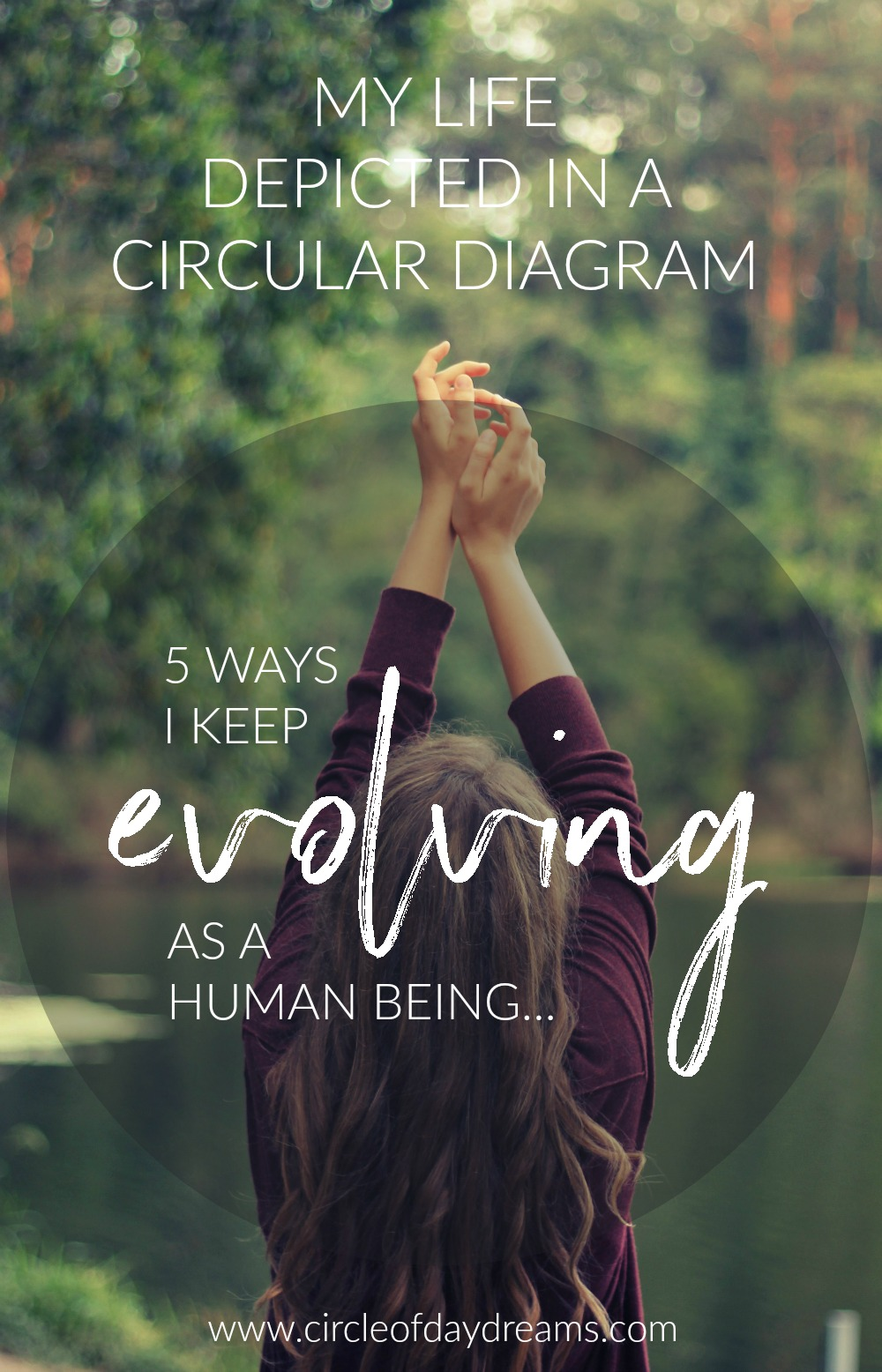 My life depicted as a circular diagram. 5 ways I keep evolving as a human being. An article brimming with beautiful ideas for creating a life you love. Circle of Daydreams. www.circleofdaydreams.com