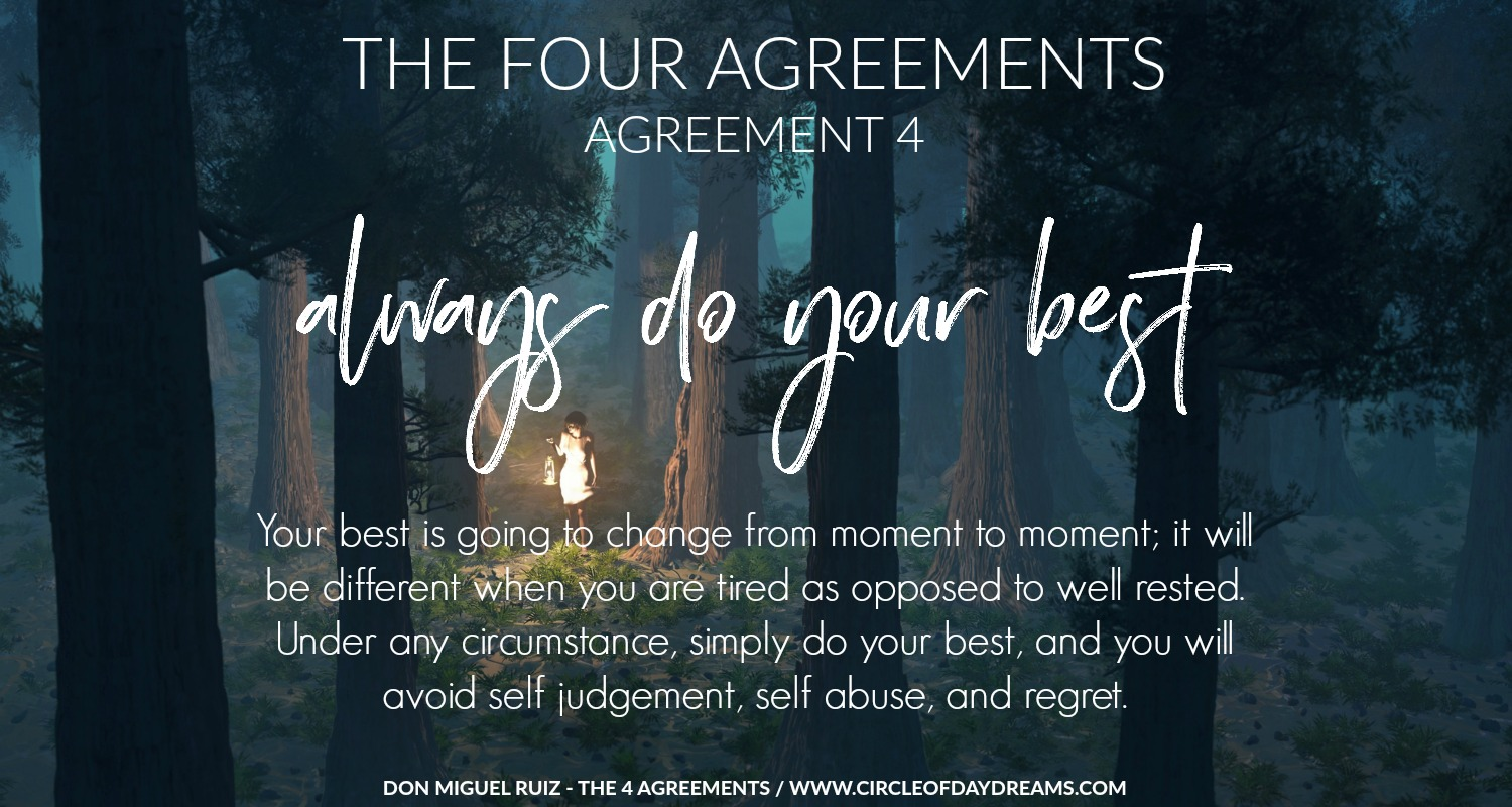 The 4 Agreements. Agreement 4. Always do your best. Don Miguel Ruiz. Circle of Daydreams. www.circleofdaydreams.com