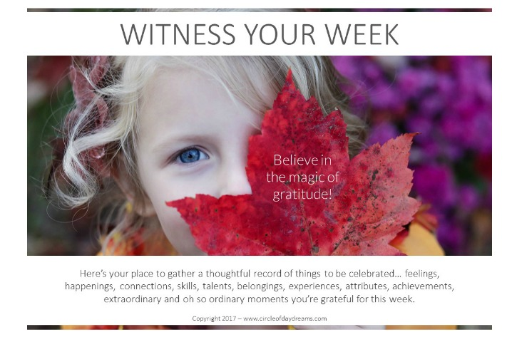 Witness Your Week. Week to a page. Gratitude journal from Circle of Daydreams. www.circleofdaydreams.com