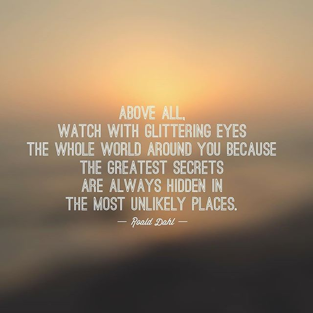 Love this quote from Roald Dahl. Above all watch with glittering eyes... #roalddahl #roalddahlquote #bemindful #liveinthemoment #inspirationdaily #dailyinspo #dailyinspiration #quotablequotes #bibliotherapy #mindfulmoments #grateful