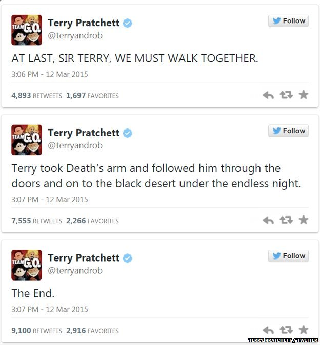 Posted on Pratchett's official twitter,  @terryandrob