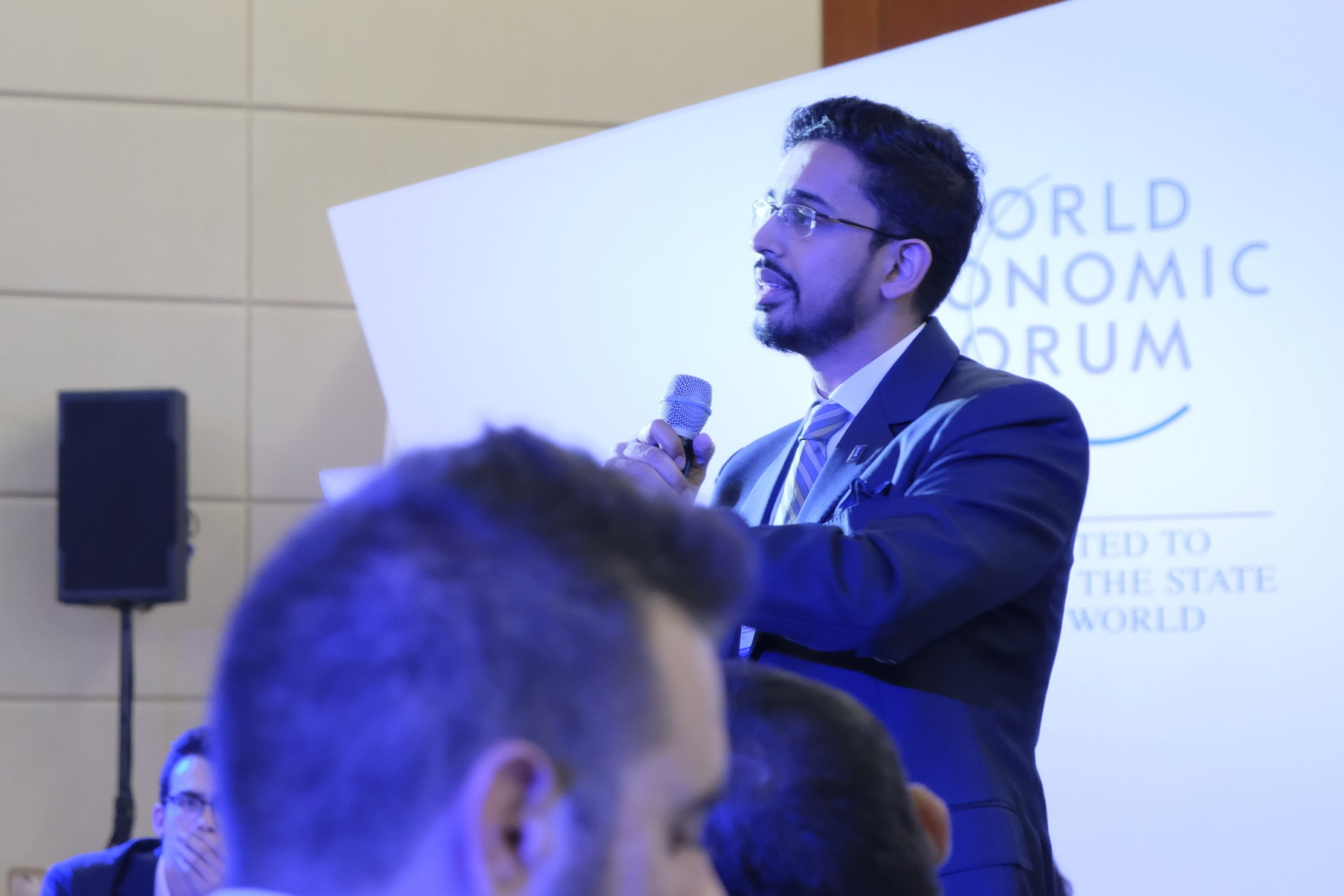 Muhammed Fazeel speaking at the World Economic Forum Annual Meeting Of New Champions