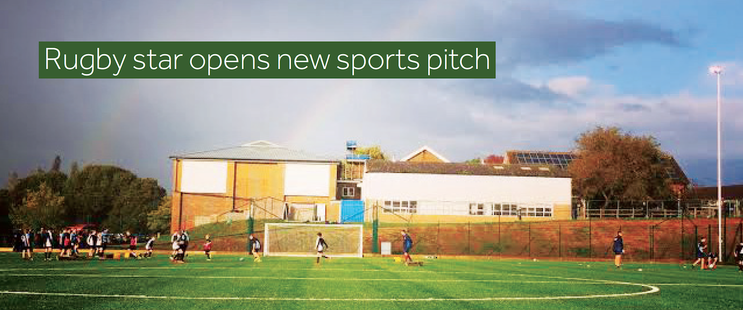 Rugby Star Dallaglio opens new sports pitch at Warden Park, Cuckfield
