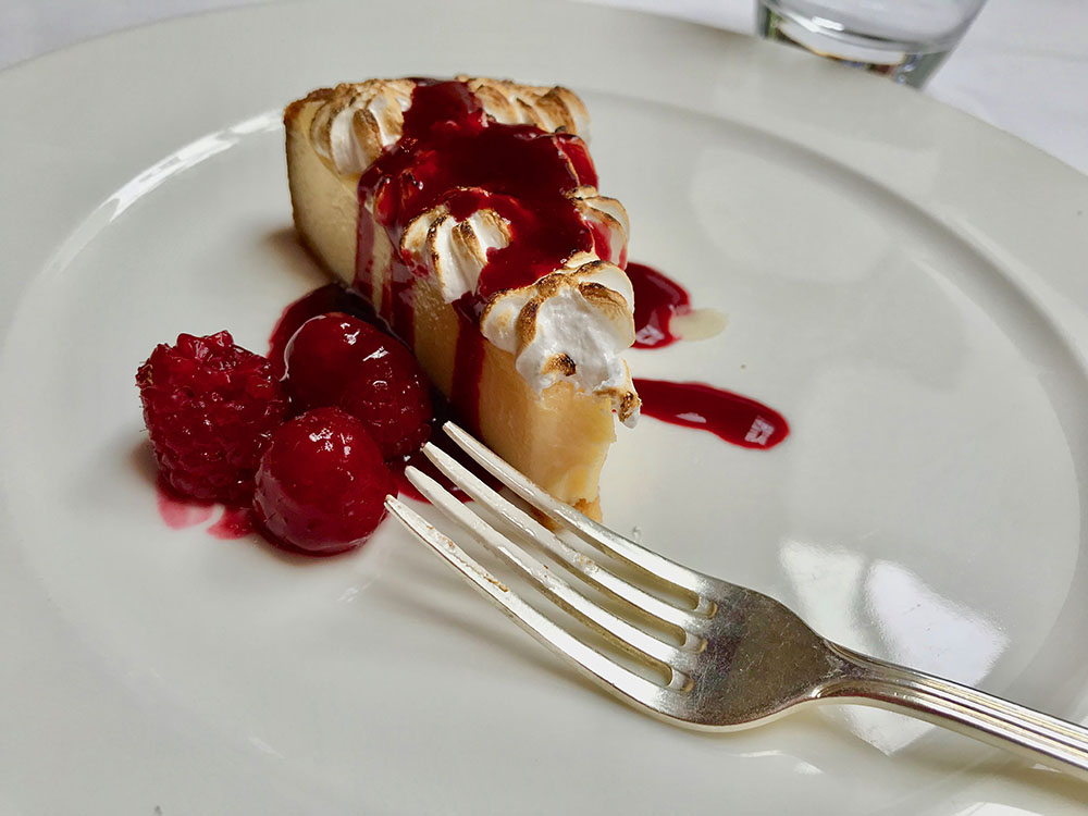 Lemon Meringue Pie with Raspberry Sauce