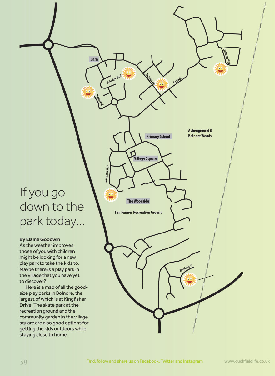 Map of children's playgrounds in Bolnore Village