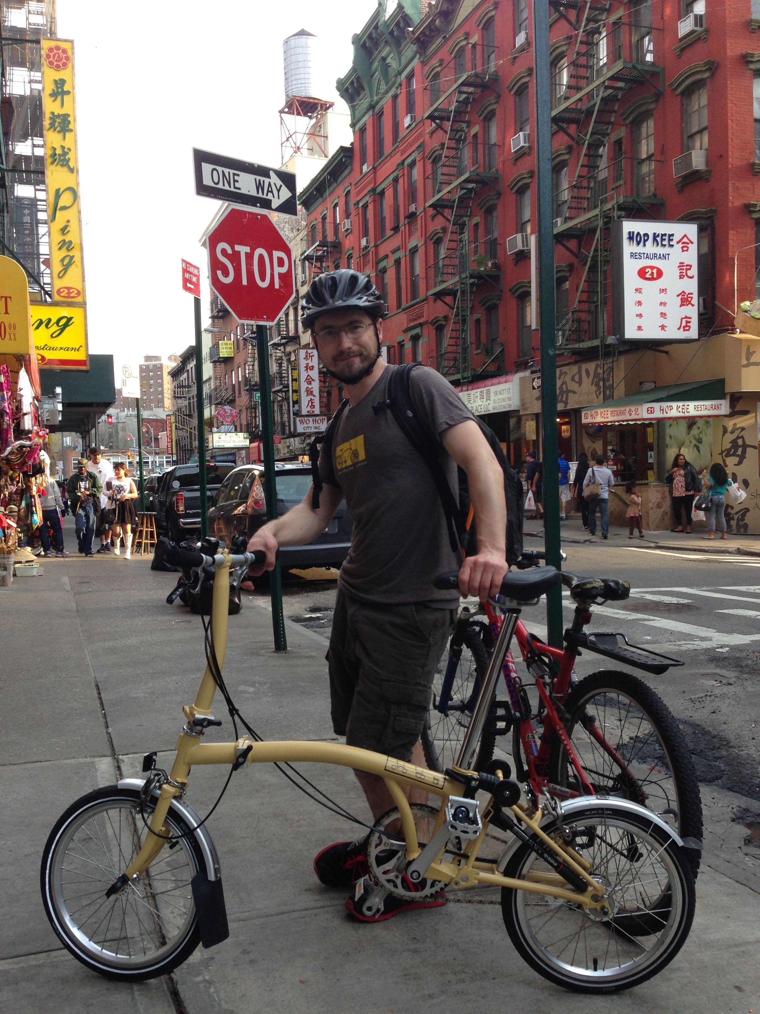 My Brompton folding bike in Chinatown, NYC.