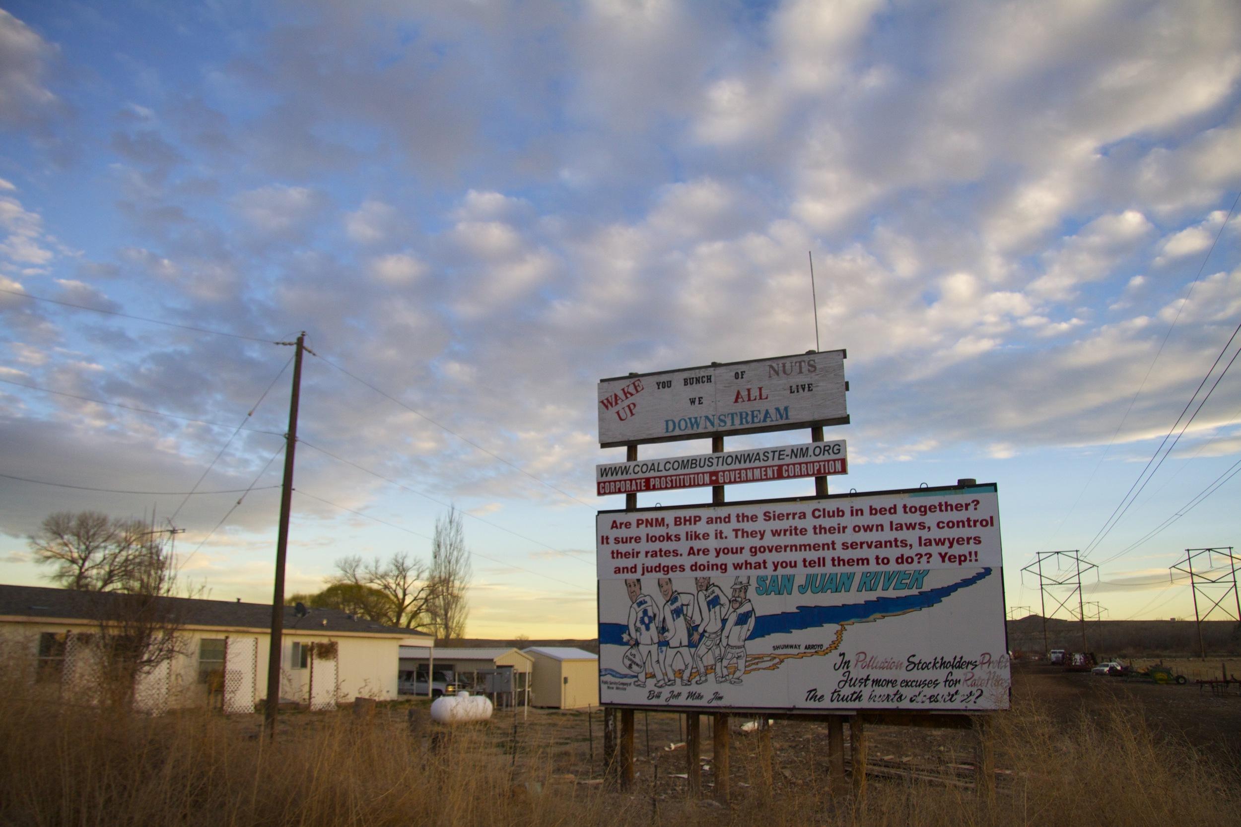 R.G. Hunt's anti-coal mine billboard near Waterflow, N.M.