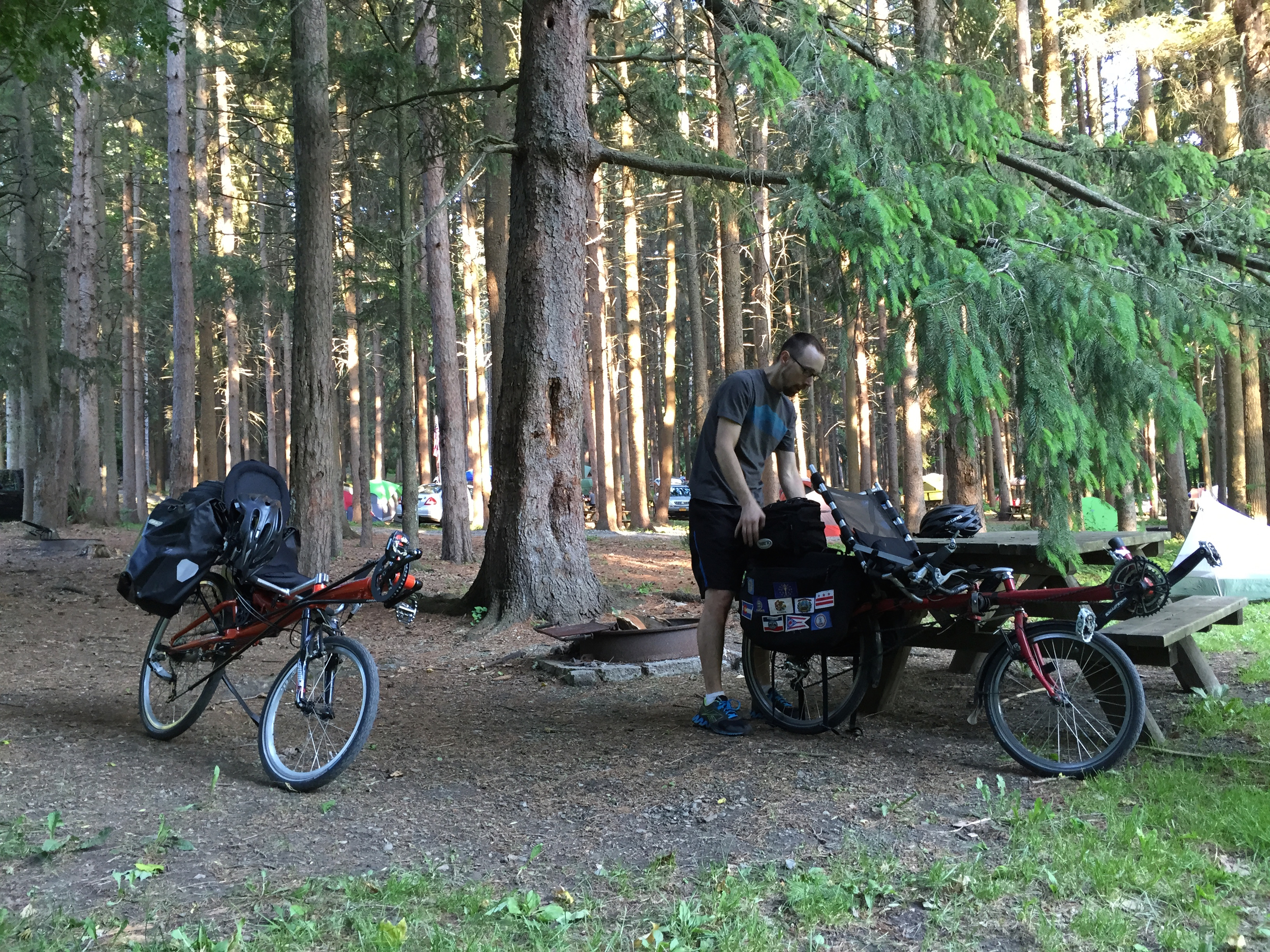 My Streetmachine (left) and Jacob's Haluzak at our campsite at Taconic State Park in Copake Falls, New York.