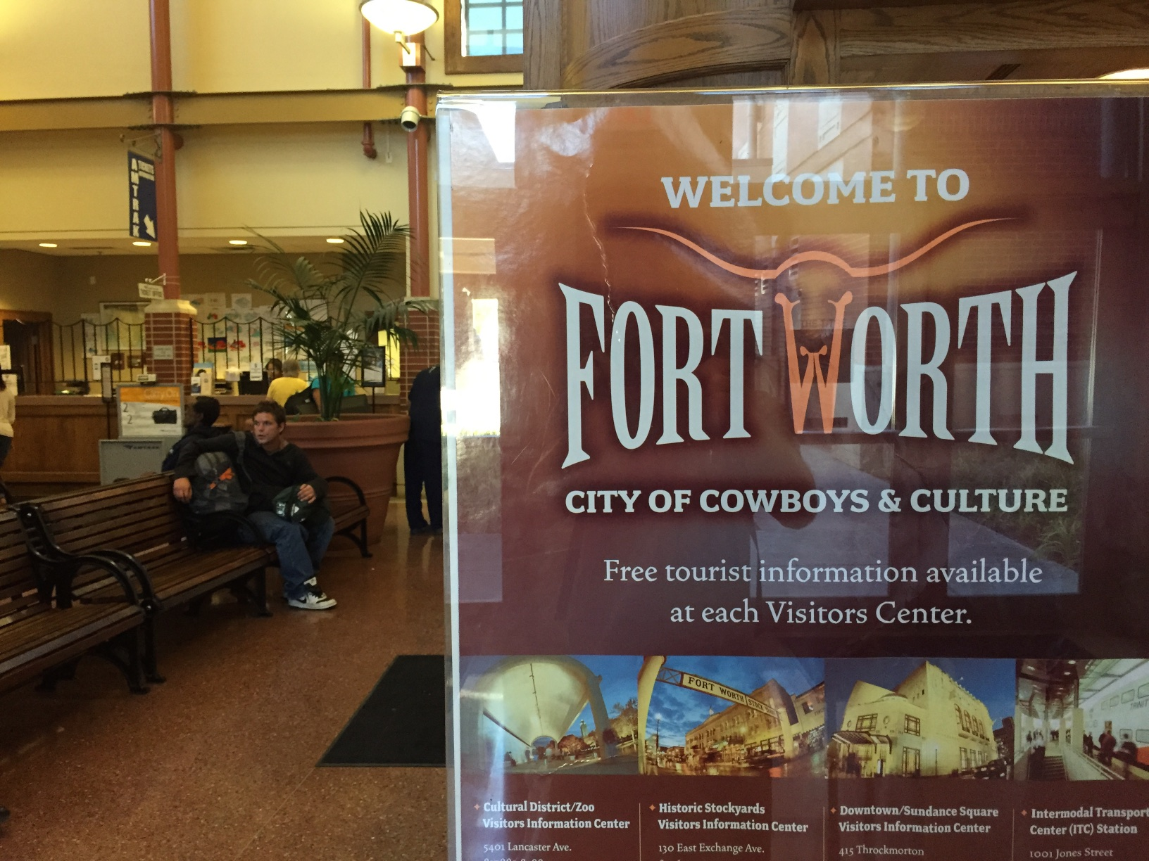 The Amtrak station in the City of Cowboys and Culture. Or something like that.