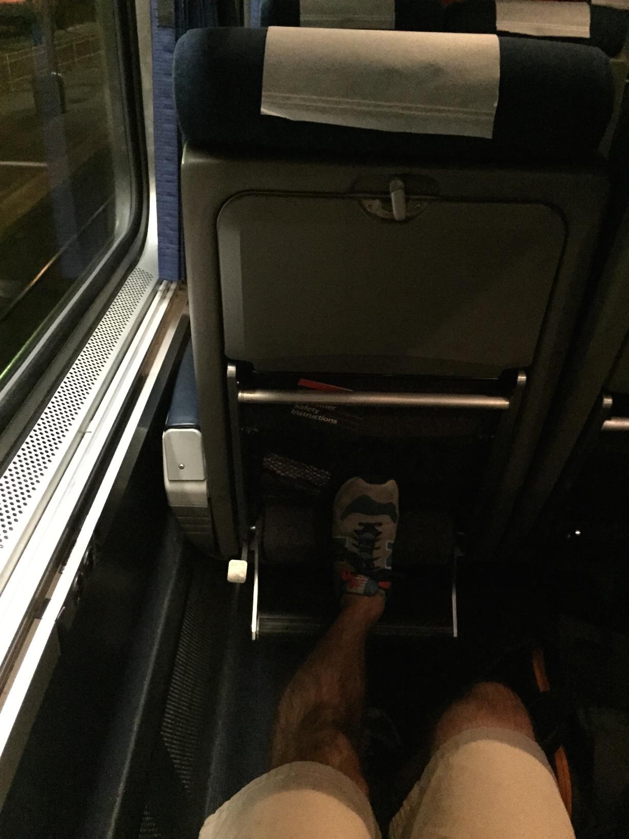 Legroom is no challenge on an Amtrak train.