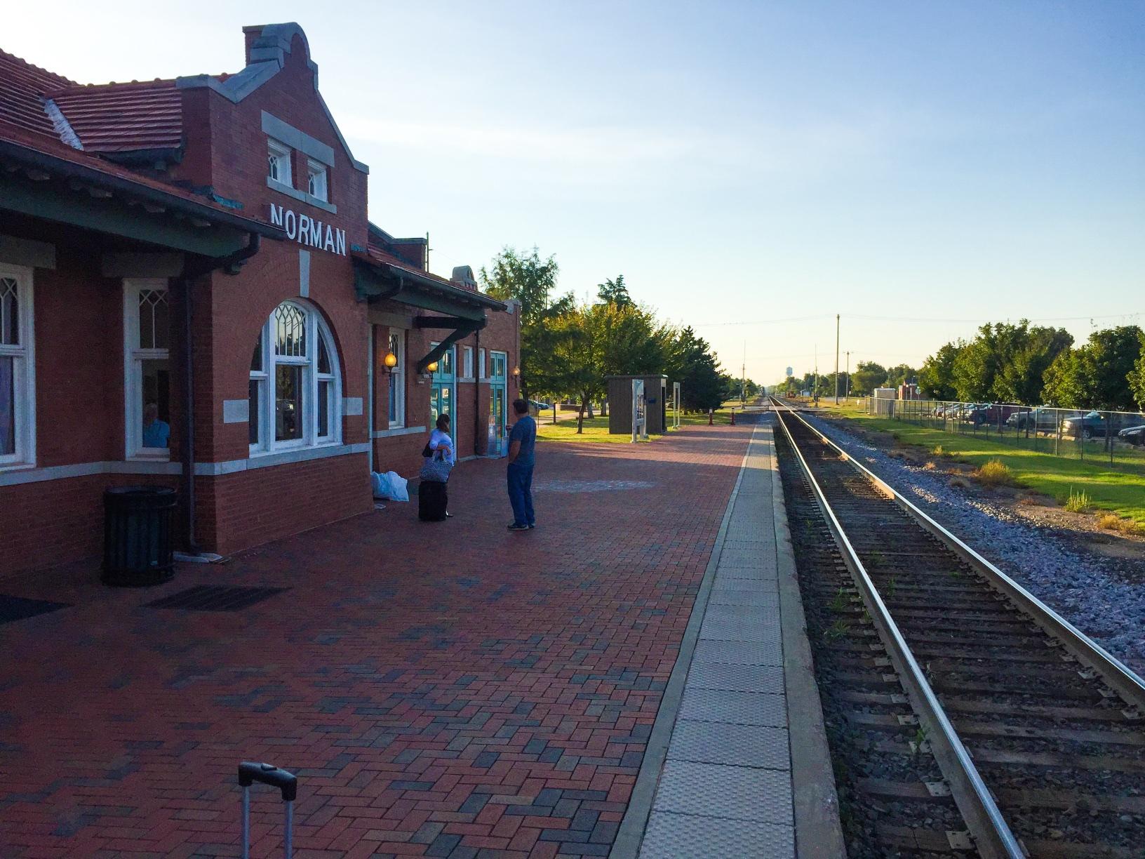 The Amtrak platform in Norman, Okla.