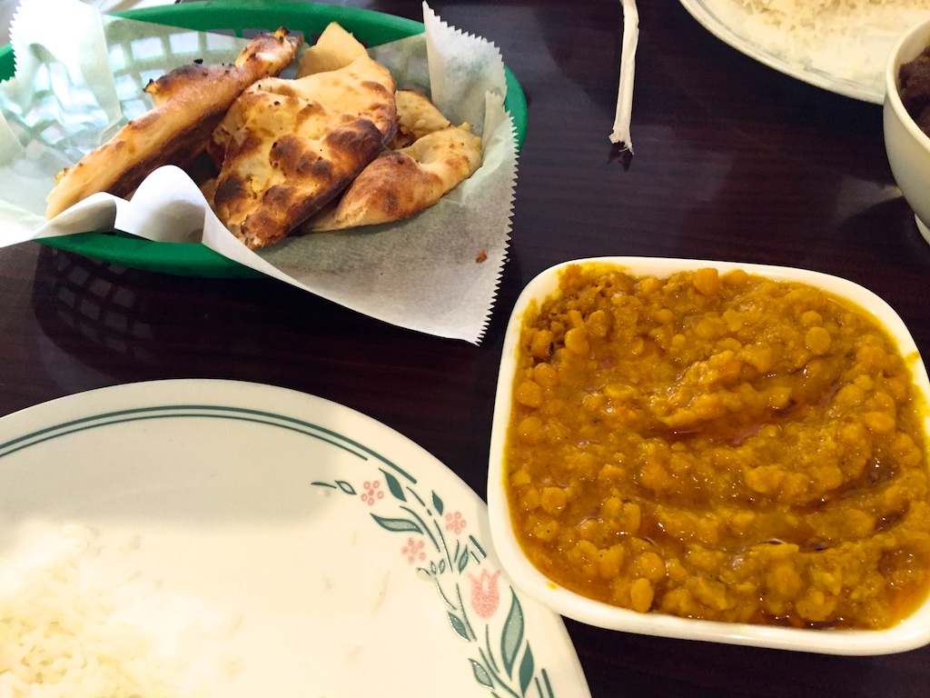 Chana dal on the right, naan on the left.