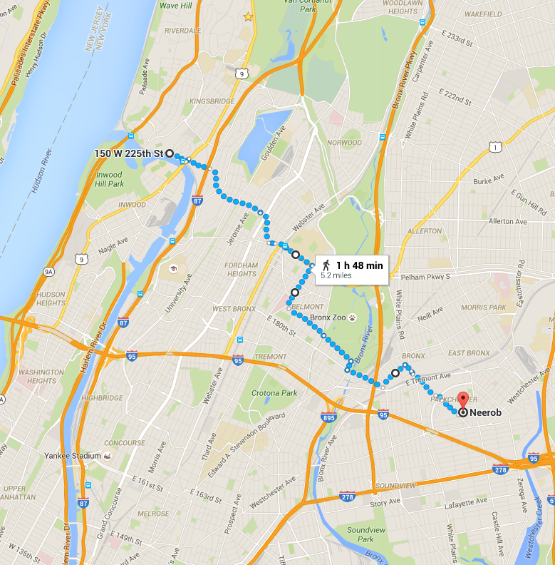 Our one-way hike from Marble Hill to Neerob in Parkchester.