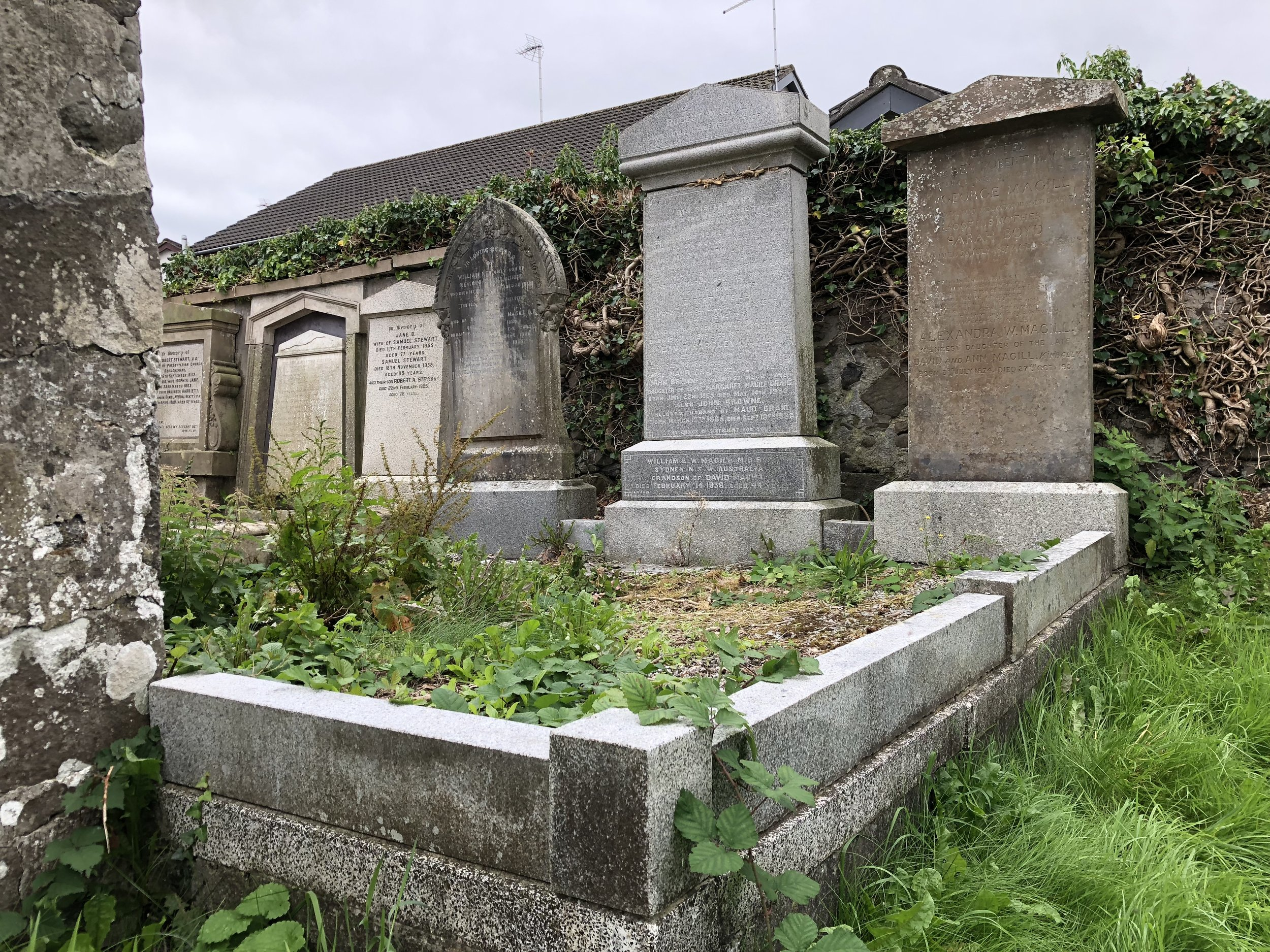 The family plot at the First Broughshane Presbyterian Church, Broughshane, Northern Ireland.