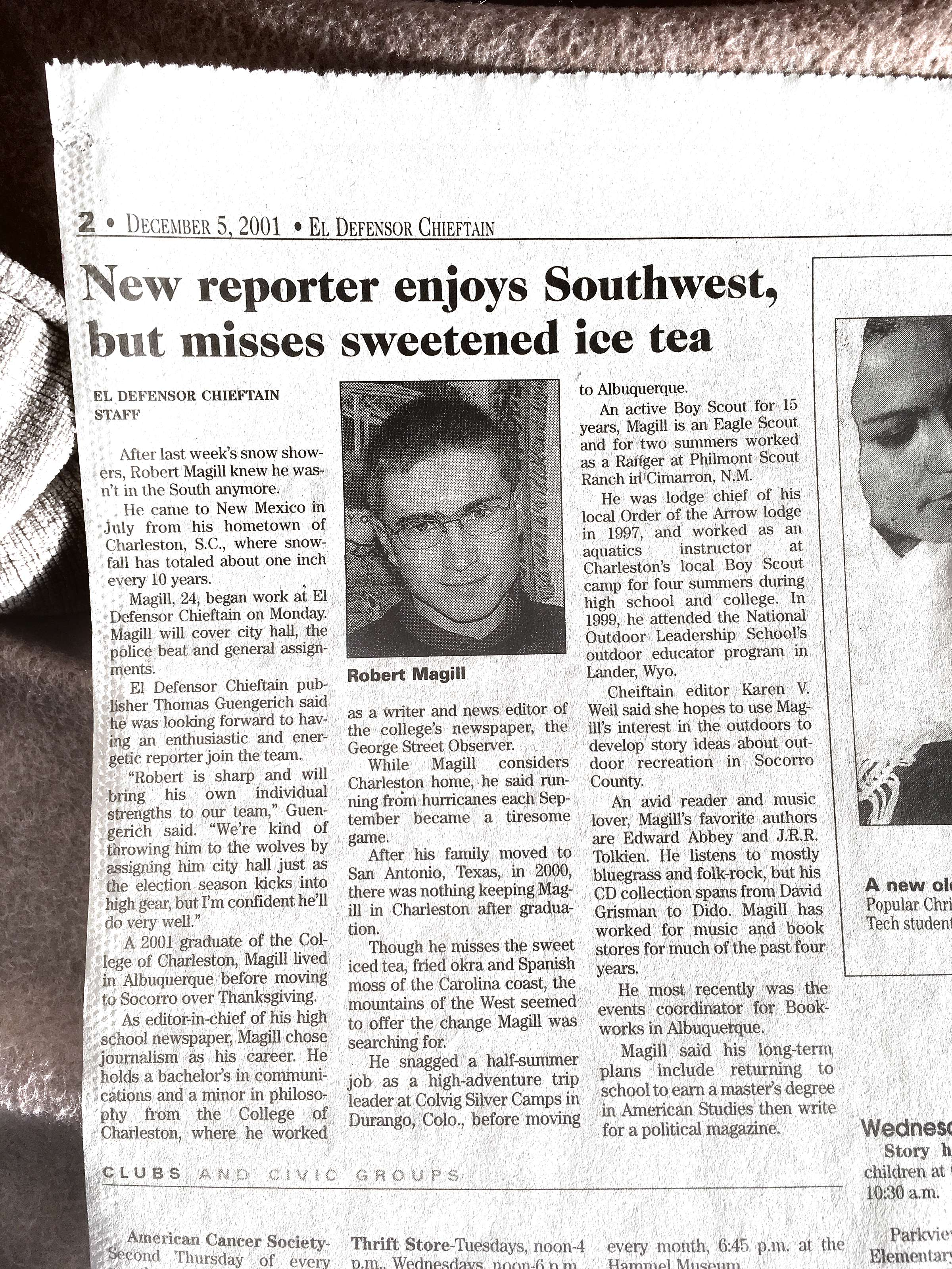 My new-reporter bio published on the first day of my first journalism job at the Defensor Chieftain newspaper, Dec. 5, 2001.