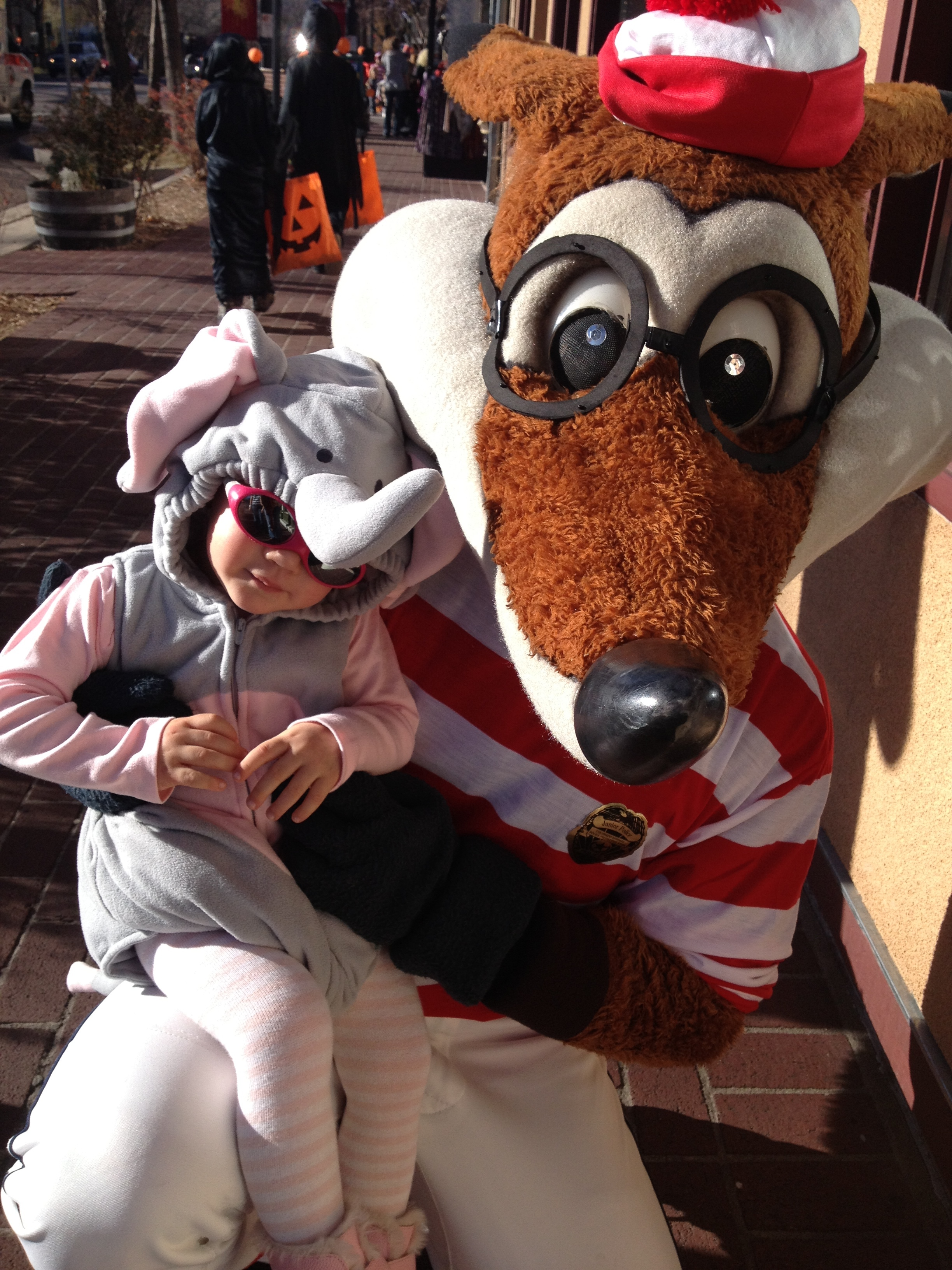 a little snuggle with the sky sox baseball mascot. she was so excited to see a fox!