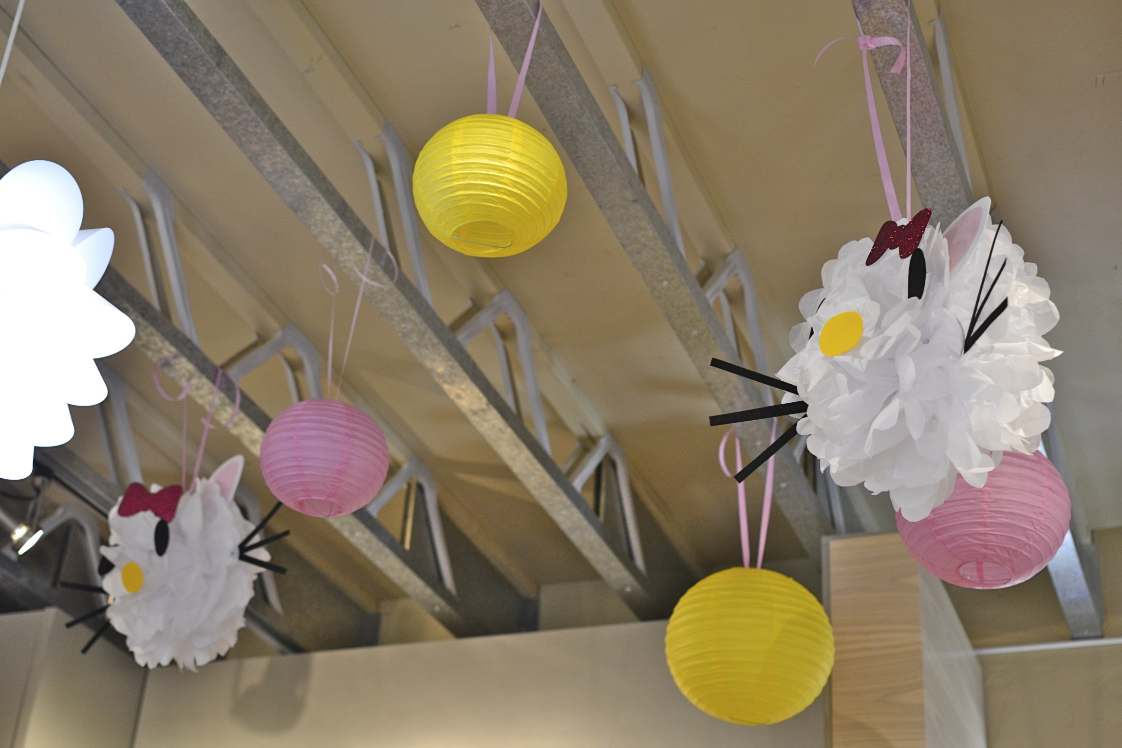 our exposed ceiling trusses are perfect for decorating for parties!