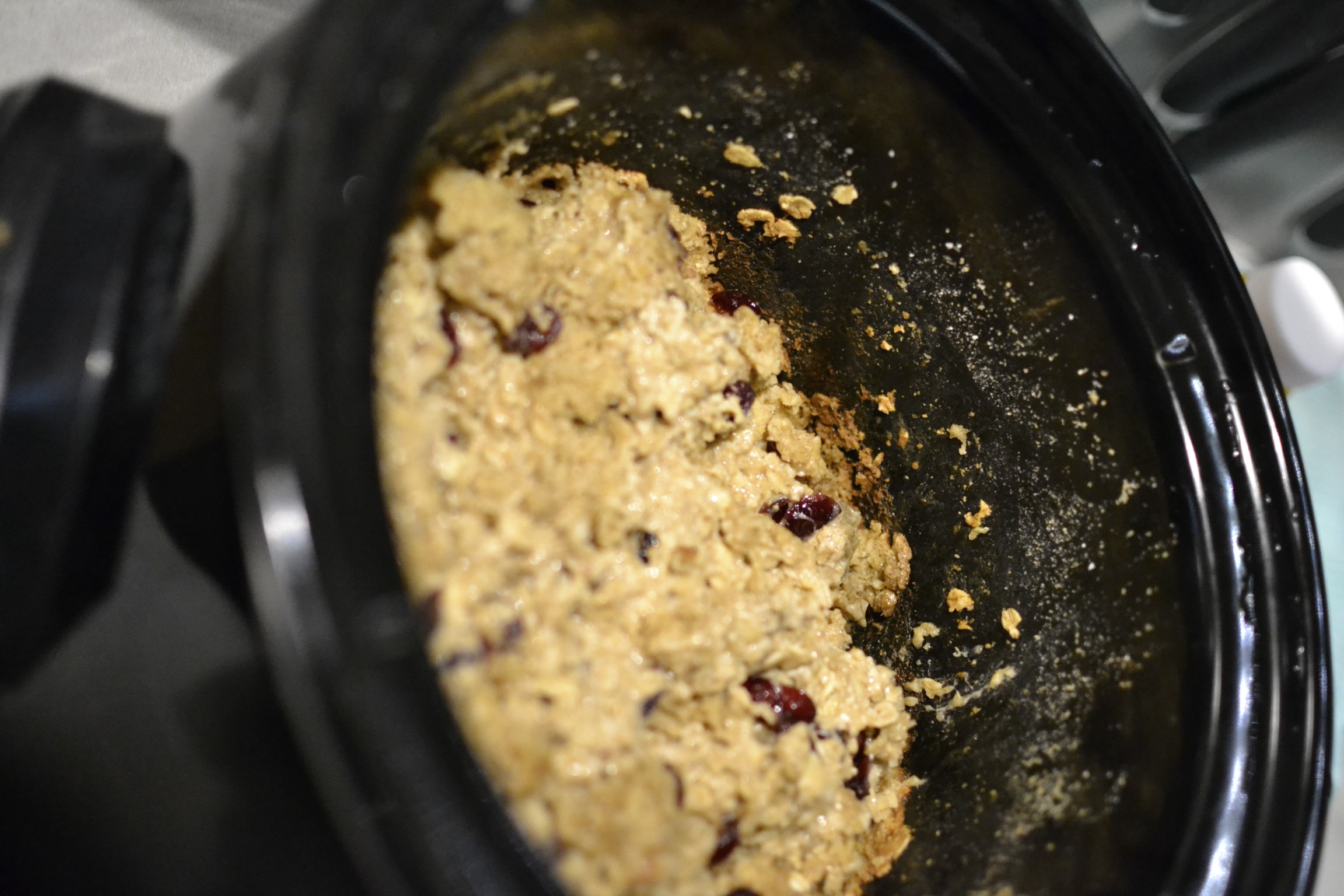our second attempt at crock pot baked oatmeal. better the second time...i left it in way too long the first time.