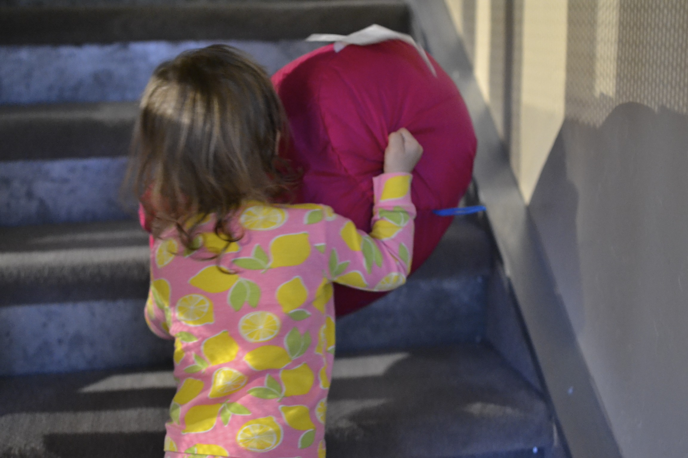 helping carry her new bag up the stairs