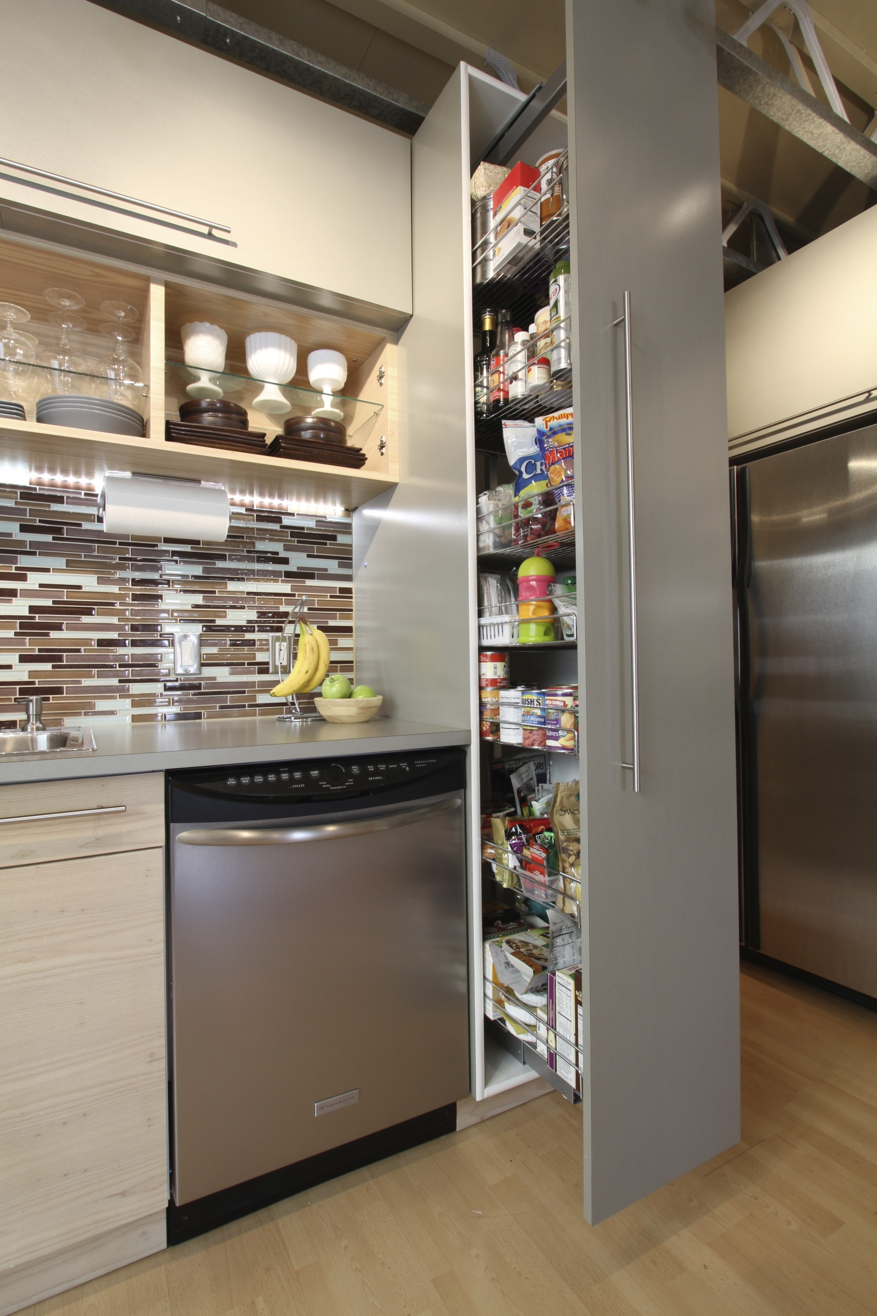 Pull out food pantry with adjustable shelves