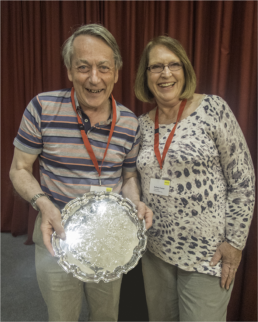 Robin Couchman being presented with his trophy by Chairman Barbara Turner for his winning DPI (Advanced Section) 'Oh Bother'